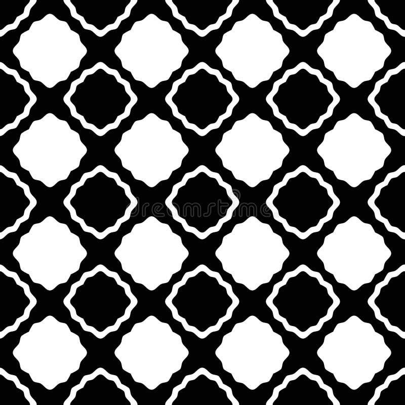 Geometric Black and White Seamless Background. Black and white geometric wavy squares rhombic shape. Seamless pattern background stock illustration