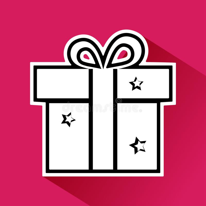 Black and white gift box with bow and stars on pink background. Vector. Illustration vector illustration