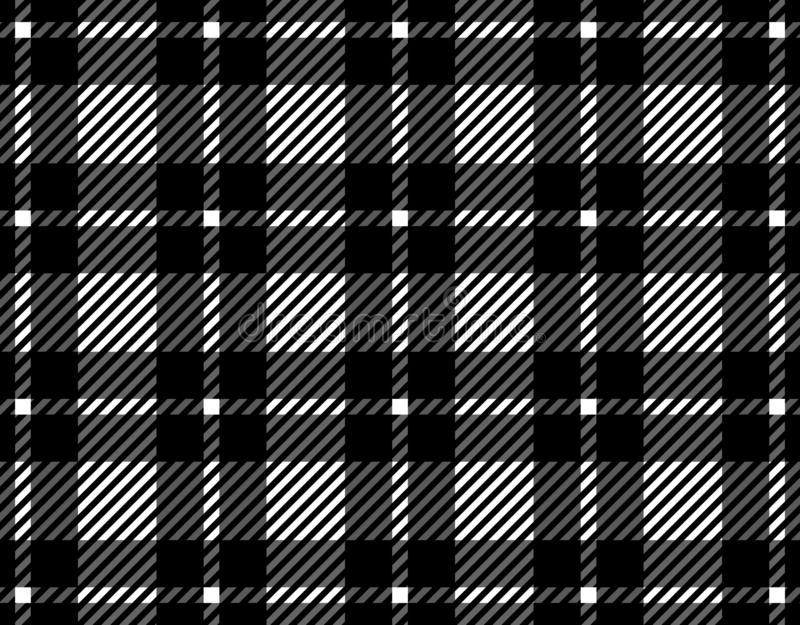 Black and white gingham pattern background for plaid,tablecloths for textile articles, illustration.EPS-10. Black and white gingham pattern background for plaid stock illustration