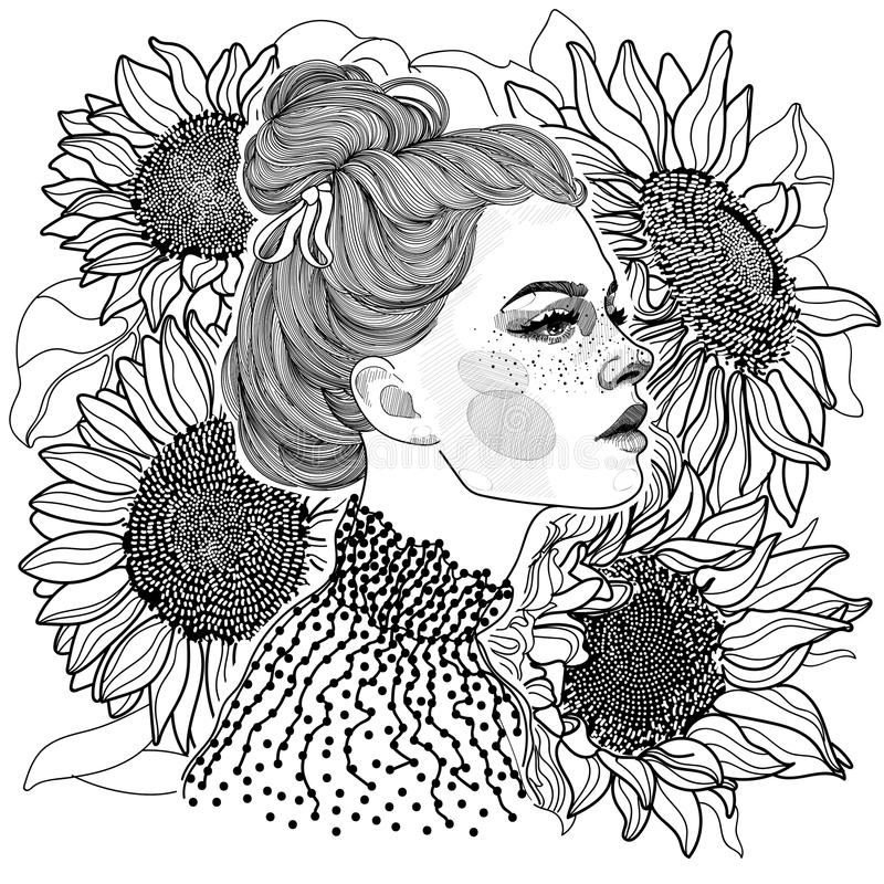 Black and white girl against a background of sunflowers. Vector black and white coloring ornament face of beautiful girl in profile, on her head hairstyle bunch vector illustration