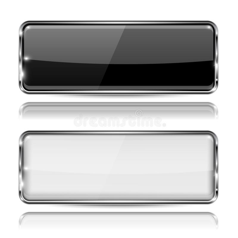 Black and white glass buttons with metal frame. Rectangle 3d icons. Vector illustration isolated on white background vector illustration