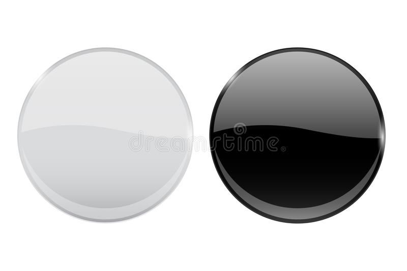 Black and white glass buttons. Web round 3d icons. Vector illustration isolated on white background royalty free illustration
