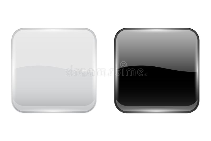Black and white glass buttons. Web square 3d icons. Vector illustration isolated on white background vector illustration