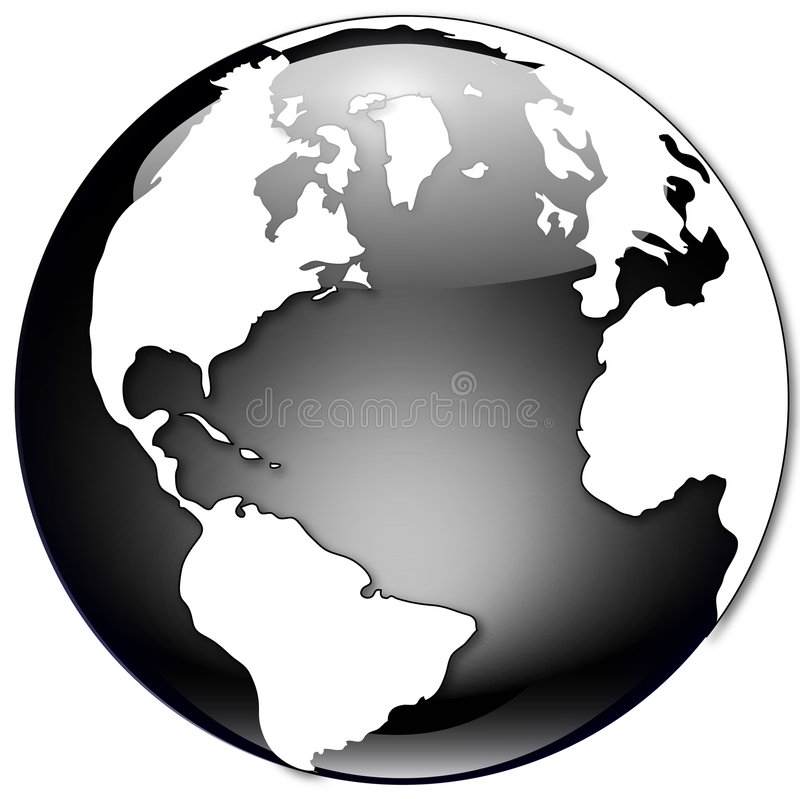 Black and White Globe Illustration stock illustration