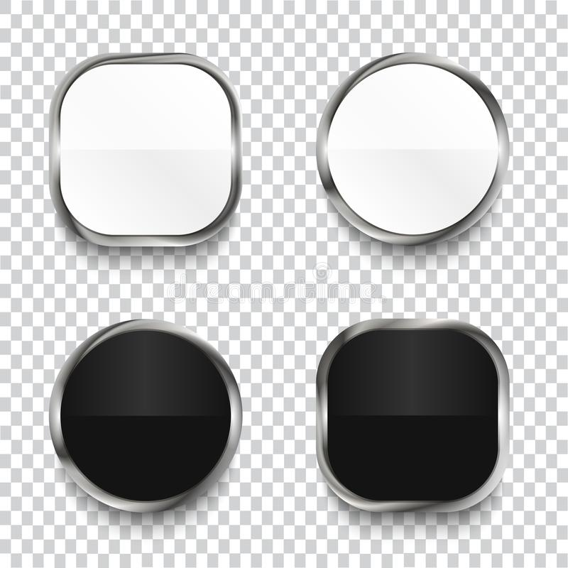 Black and white glossy buttons isolated on transparent background. vector illustration