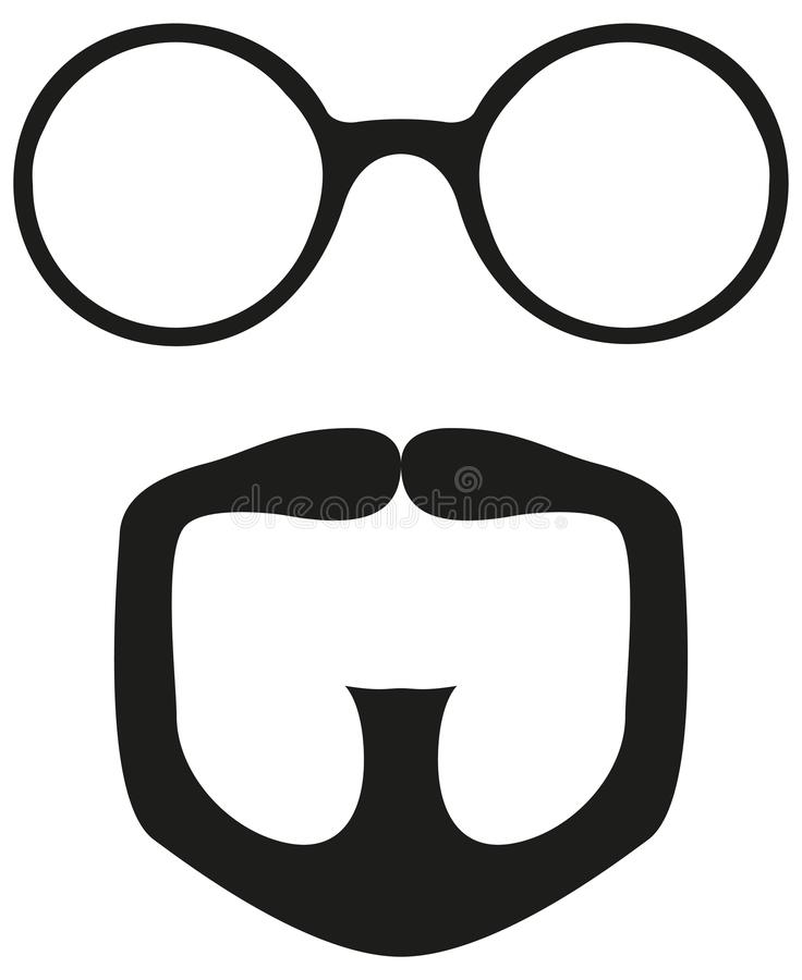 Black and white goatee glasses silhouette set. Fashion vector illustration for gift card certificate sticker, badge, sign, stamp, logo, label, icon, poster vector illustration