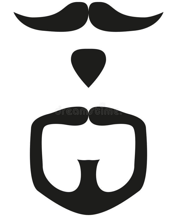 Black and white goatee silhouette set. Black and white moustache beard goatee silhouette set. Hipster vector illustration for gift card certificate sticker vector illustration