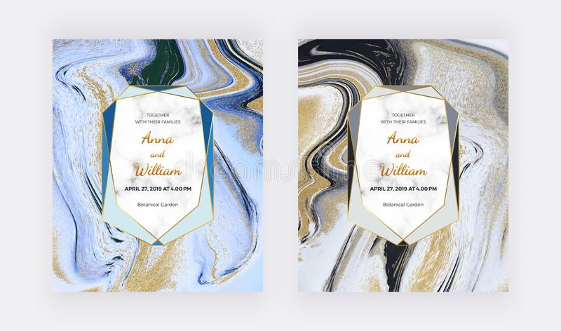 Black, white and golden glitter liquid marble wedding invitation cards. Set ink painting abstract pattern. Trendy backgrounds for royalty free stock image
