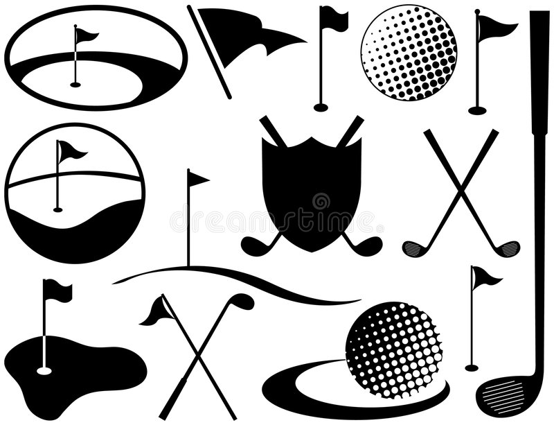 Black and White Golf Icons vector illustration
