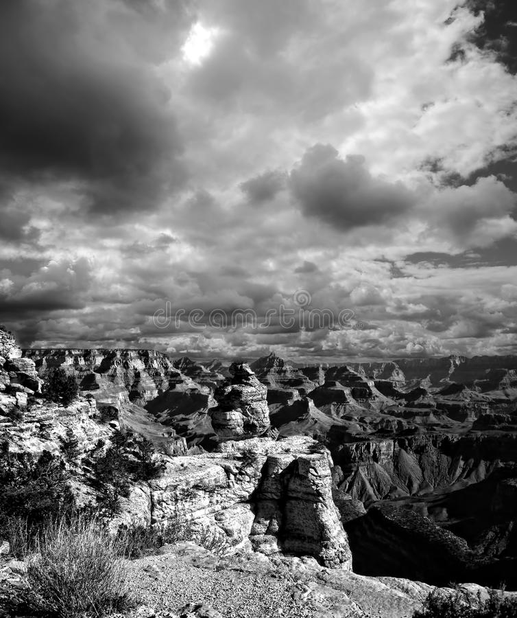 Black and White Grand Canyon Arizona. Black and White late afternoon in the Grand Canyon Arizona stock photography