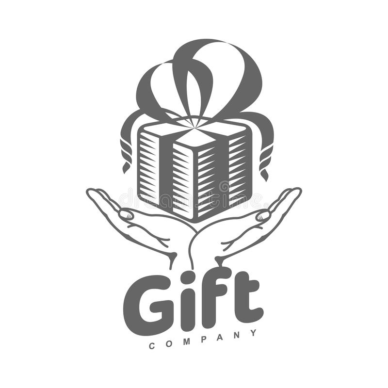 Black And White Graphic Gift Box Logo Templates Stock Vector Illustration Of Gift Offer 79047095