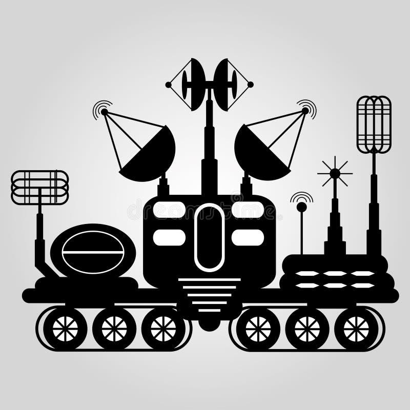 Black and white graphic illustration lunar rover. (vector eps 10 vector illustration