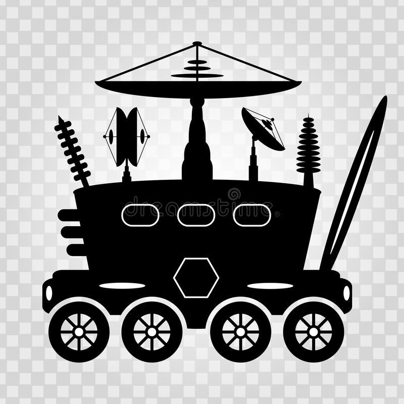 Black and white graphic illustration lunar rover. (vector eps 10 royalty free illustration