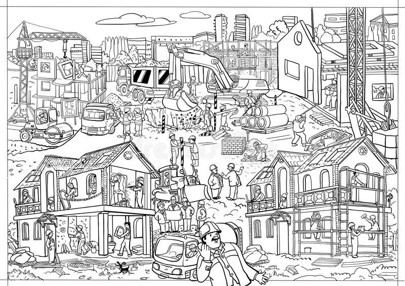 Coloring-poster of a large size. Construction. Black and white image. stock photos