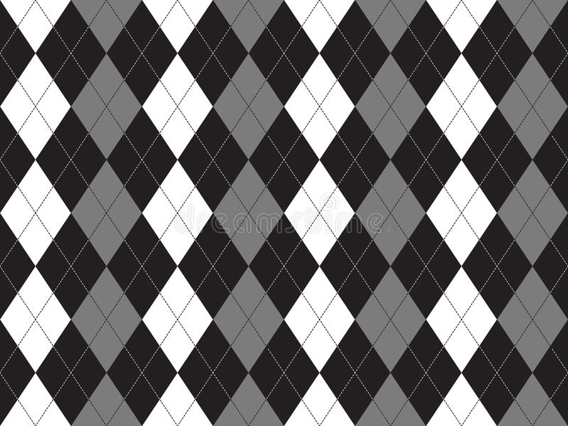 Black white gray argyle textile seamless pattern. Flat design. Vector illustration stock illustration