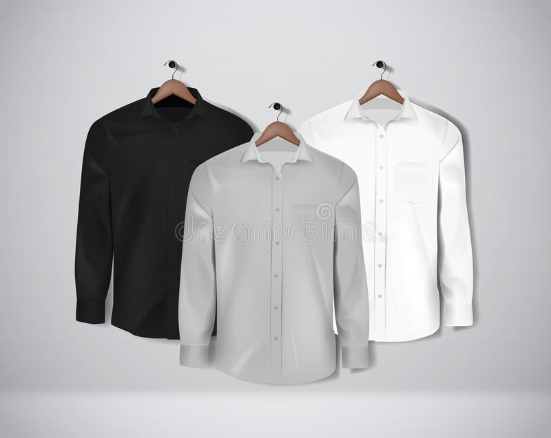 Black, white and gray color formal shirt set. Blank dress shirt with buttons.  royalty free illustration