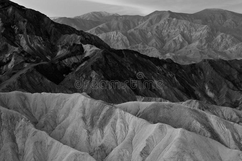 Black & white & gray mountains. White, black & gray mountains from Zabriske Point in Death Valley National Park, California stock images