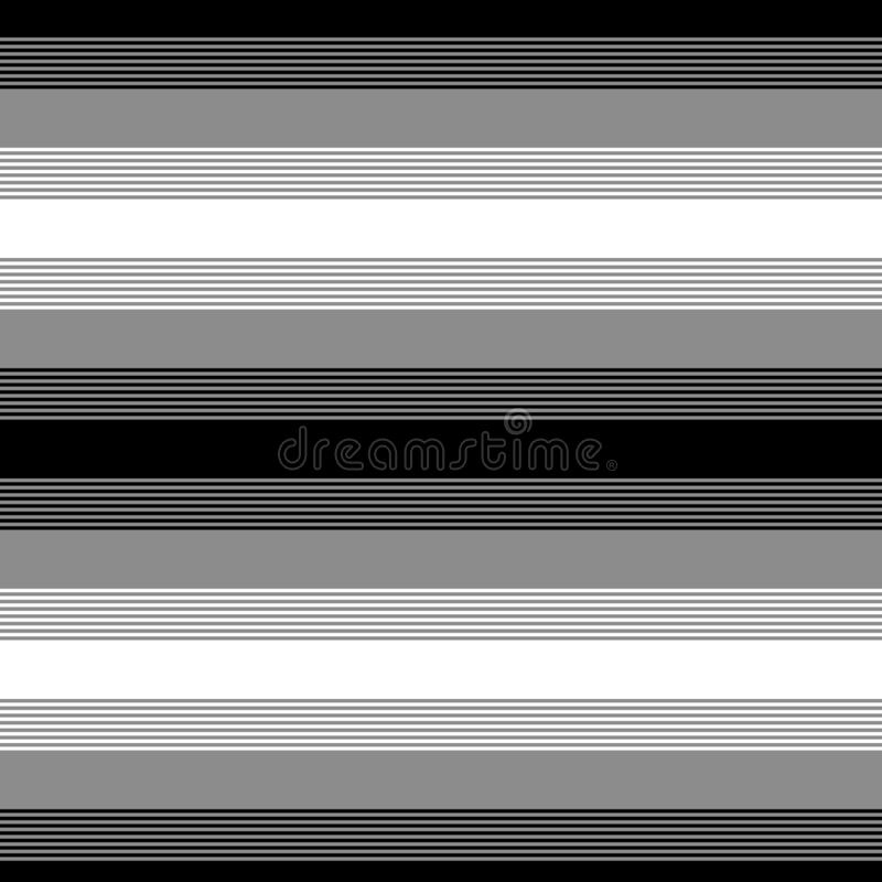 Black white and gray striped simple geometric seamless pattern, vector stock illustration
