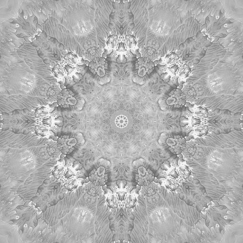 Black and White Grayscale Mandala with art handmade texture. stock images
