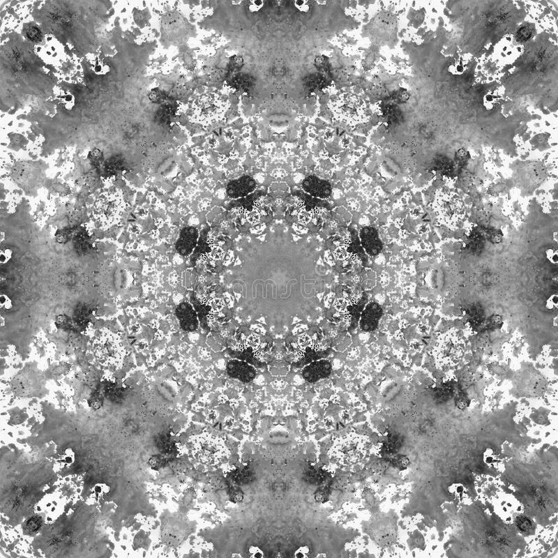 Black and White Grayscale Mandala with art handmade texture. royalty free stock photography
