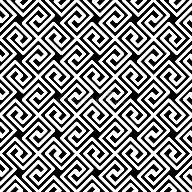 Greek Key Diagonal Seamless Pattern. Black and white greek key fret meander mosaic geometric pattern. Greek lines texture diagonal seamless tile vector illustration
