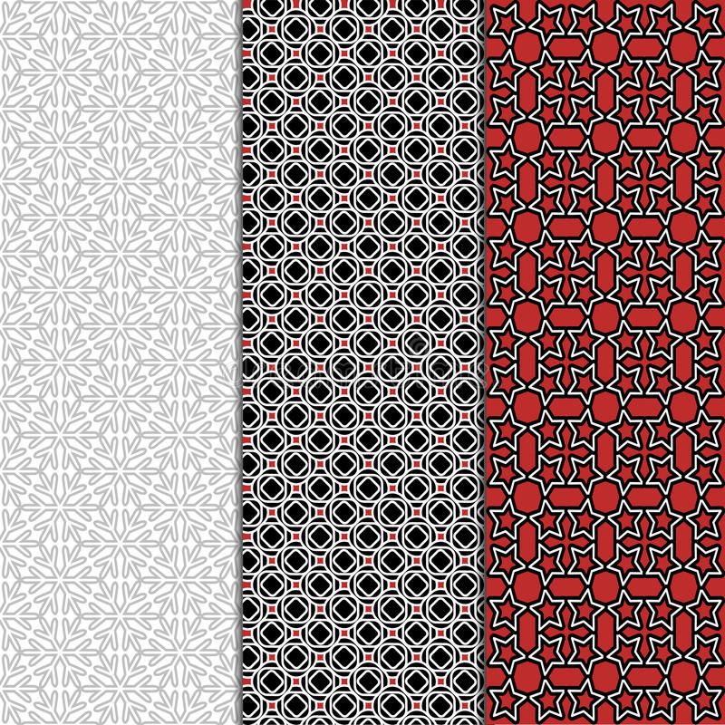 Black white grey red seamless pattern background. Fashion fabric for elegant design. Abstract geometric frames. Stylish decorative royalty free illustration