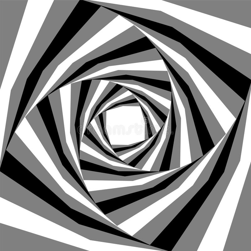 Black, White and Grey Striped Helix Expanding from the Center. Visual Effect of Depth and Volume. Suitable for Web Design. Vector Illustration. Black, White and stock illustration