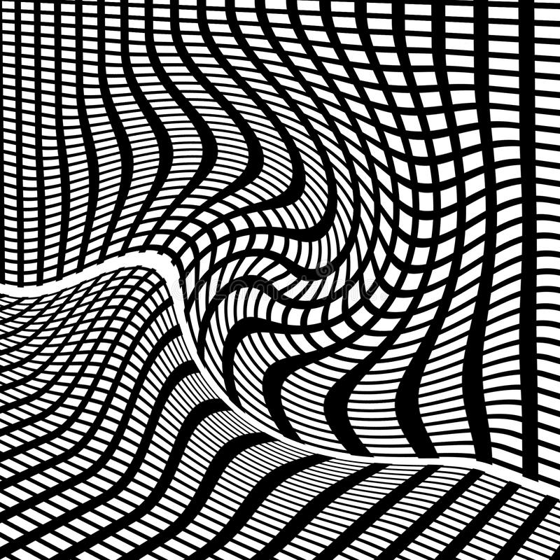 Black and white grid illustration. Black and white grid with distorted lines stock illustration