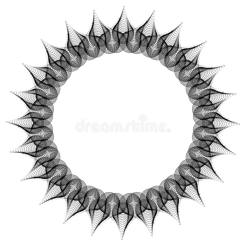 Black and white guilloche round frame. Raster clip art. Black and white abstract round frame. Copy space. Guilloche border for certificate or diploma, isolated stock photos