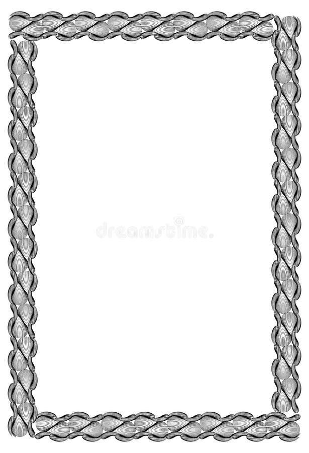Black and white guilloche vertical frame. Raster clip art. stock photos