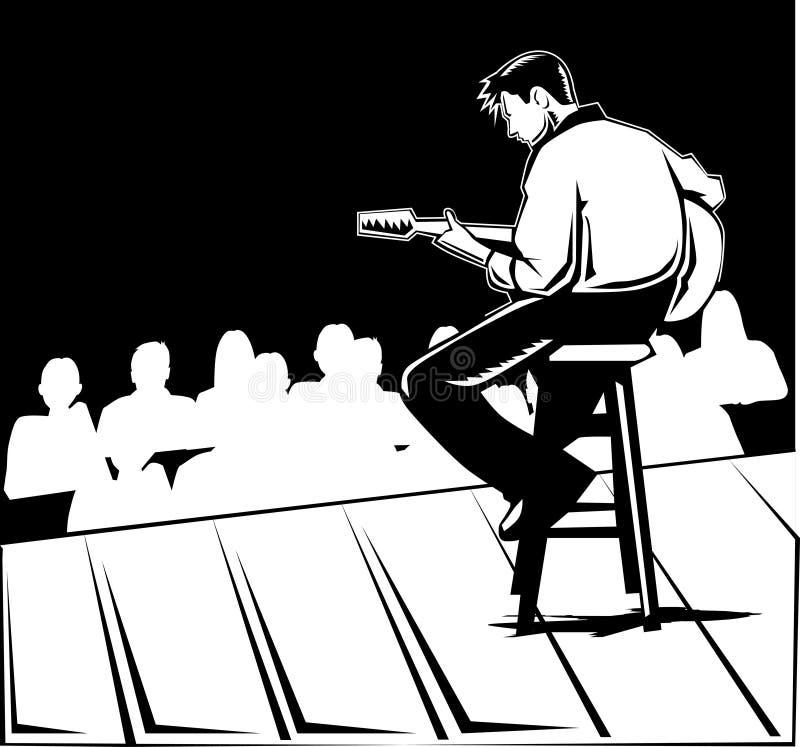 Black and white guitar player stock illustration