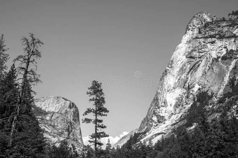 Black and white. Halfdome from Mirror Lake royalty free stock photos