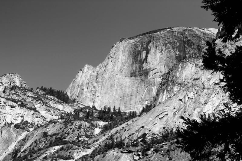 Black and white. Halfdome from Mirror Lake stock images