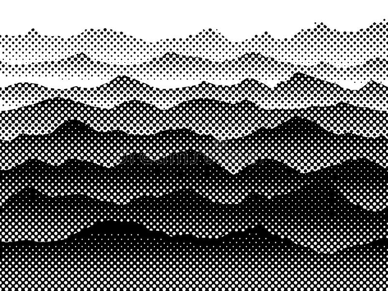 Black and white halftone mountains in the fog. Vector background royalty free stock image