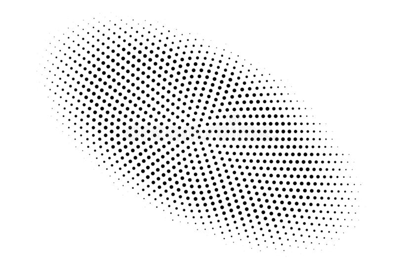 Black and white halftone vector background. Centered gradient on oval dotwork texture. Round dotted halftone. Retro halftone overlay. Vintage distressed effect vector illustration