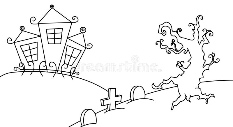 Black and white Halloween card royalty free stock photos