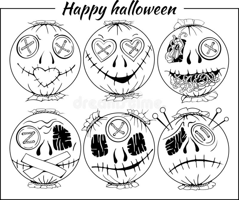 Black and white halloween-style smiles of horror vector illustration