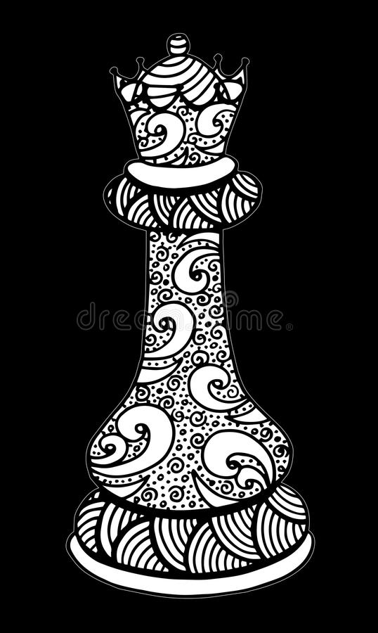 Download Hand Drawing Doodle Sketch Chess Queen Vector Illustration Art Stock