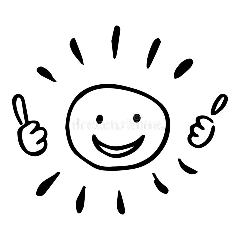 Black and white hand drawing of a sun with two thumbs up. royalty free stock photography