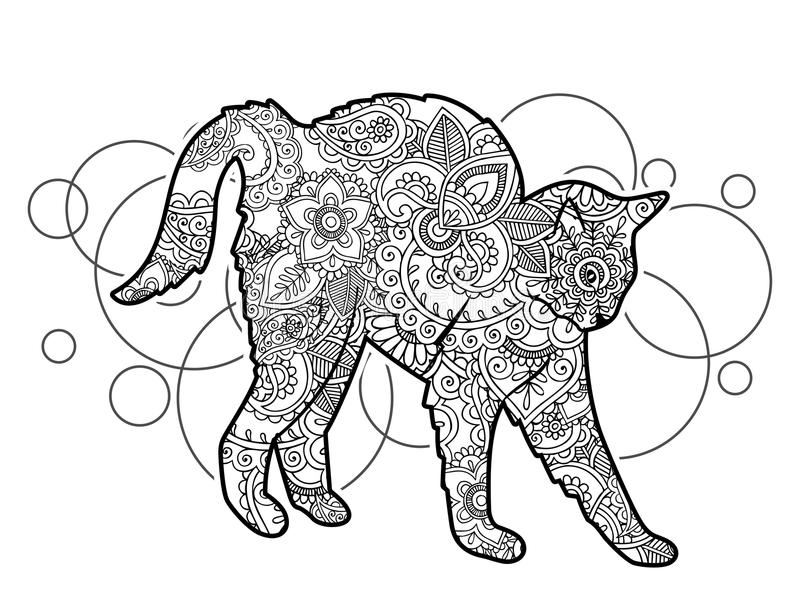 black white hand drawn cat doodle animal paisley adult stress release coloring page zentangle