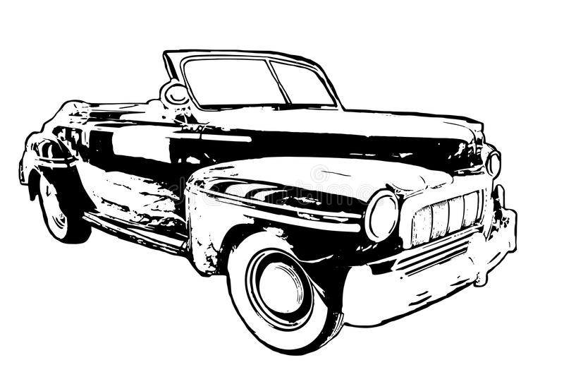 Black and White hand drawn classic American car on white background stock illustration