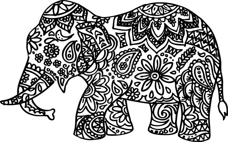 Download black and white hand drawn doodle elephant stock vector illustration of artwork ethnic