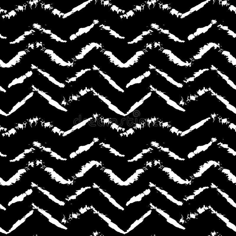 Black and white hand drawn dry brush zig zag seamless pattern. Vector illustration. stock illustration