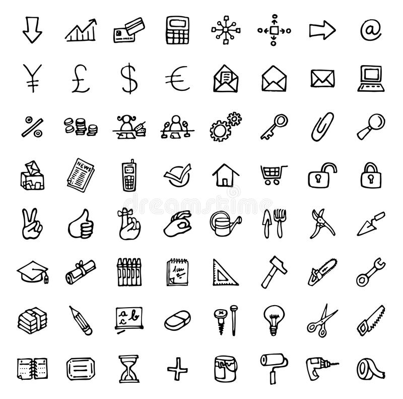 64 black and white hand drawn icons - OFFICE & TOOLS. Black and white hand drawn icons royalty free illustration