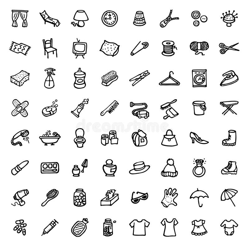 64 black and white hand drawn icons - HOME & ACCESSORIES. Black and white hand drawn icons - HOME & ACCESSORIES royalty free illustration