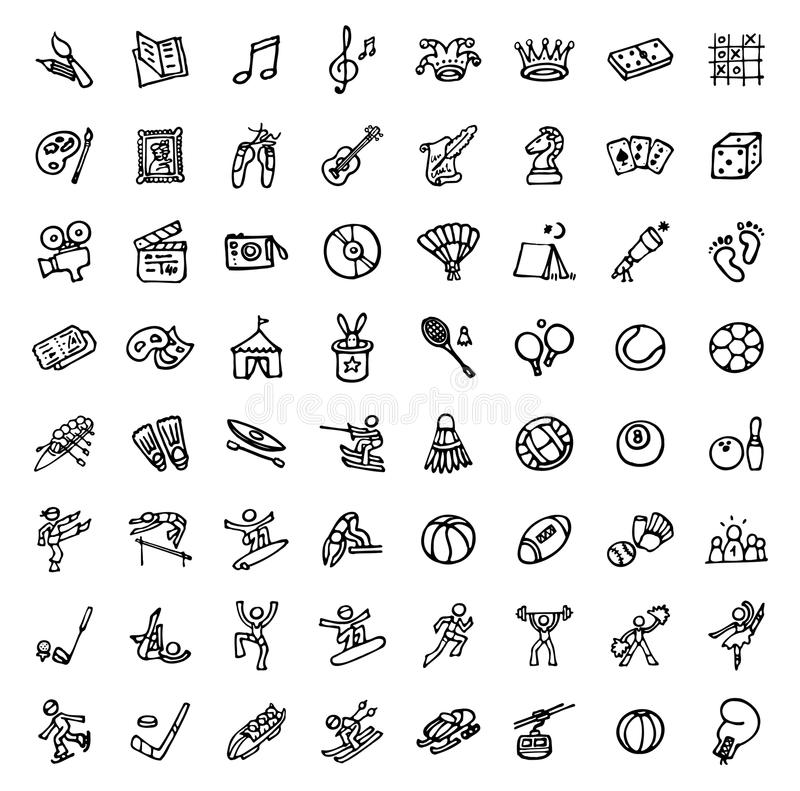 64 black and white hand drawn icons - SPORTS & LEISURE. Black and white hand drawn icons - SPORTS & LEISURE vector illustration