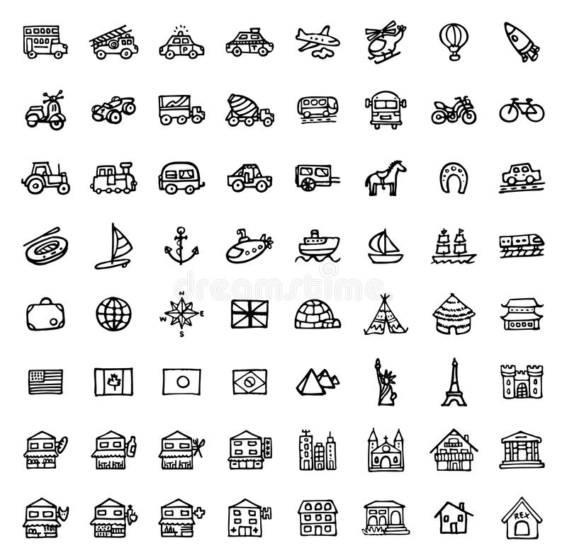 64 black and white hand drawn icons - TRANSPORTATION & ARCHITECTURE. Black and white hand drawn icons - TRANSPORTATION & ARCHITECTURE stock illustration