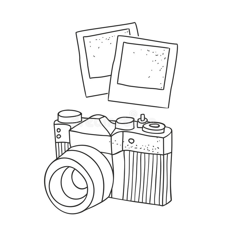 Black and white hand drawn image of vintage photo camera. stock illustration