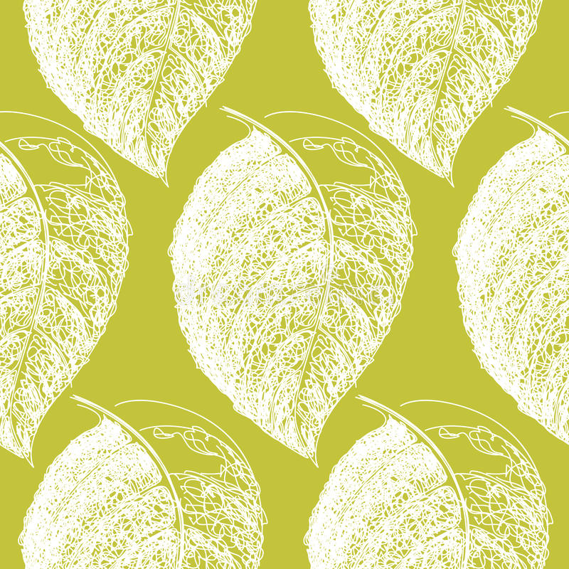 Black and white hand drawn leaf. Wallpaper seamless pattern back stock illustration