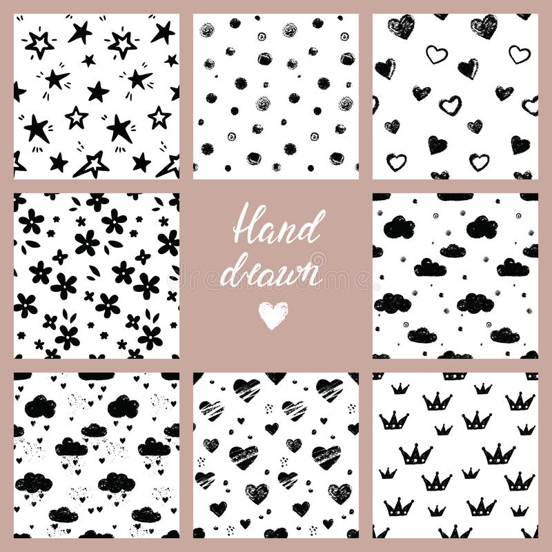 Black and white hand drawn vector set of 8 background seamless patterns vector illustration